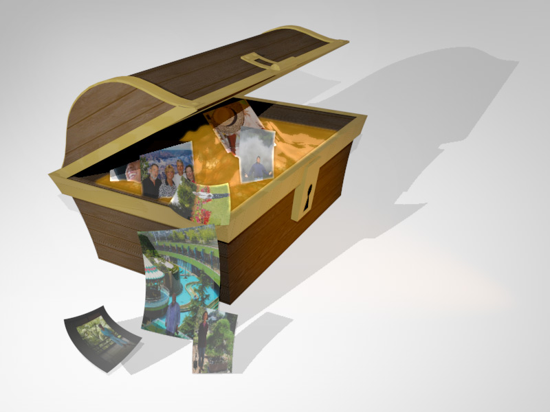 Treasure Chest with Coins and Photos